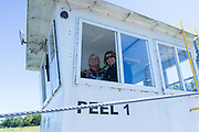 Our crew rides the Peel Ferry over Bull Shoals Lake in north central Arkansas.