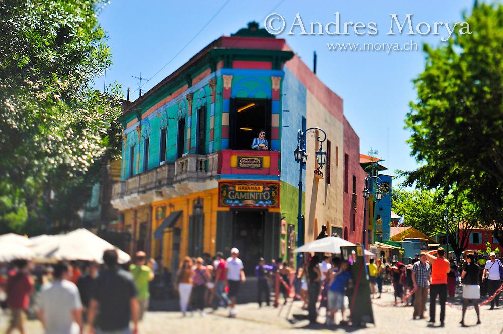 Street Scene at Caminito , La Boca , Buenos Aires , Argentina Image by Andres Morya