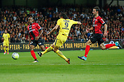 Edinson Roberto Paulo Cavani Gomez (psg) (El Matador) (El Botija) (Florestan) kicked the ball to score, ball from Neymar da Silva Santos Junior - Neymar Jr (PSG) during the French championship L1 football match between EA Guingamp v Paris Saint-Germain, on August 13, 2017 at the Roudourou stadium in Guingamp, France - Photo Stephane Allaman / ProSportsImages / DPPI