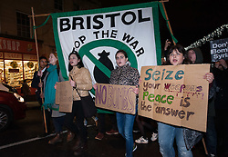 © Licensed to London News Pictures. 02/12/2015. Bristol, UK.  A rally and protest in Bristol city centre, to demonstrate against bombing 'Islamic State' in Syria, on the day the UK Parliament debates a motion for the UK to join in air strikes against 'Islamic State', otherwise known as IS, ISIS, ISIL or Daesh in Syria. Photo credit : Simon Chapman/LNP