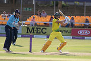 Ellyse Perry cuts to the boundary during the Royal London Women's One Day International match between England Women Cricket and Australia at the Fischer County Ground, Grace Road, Leicester, United Kingdom on 4 July 2019.