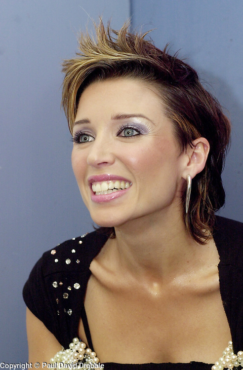 Dannii Minogue interviewed back stage at Sheffield Arena during the Smash hits tour of October 2002
