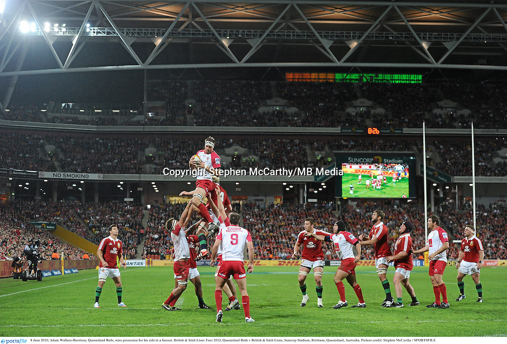 8 June 2013; Adam Wallace-Harrison, Queensland Reds, wins possession for his side in a lineout. British & Irish Lions Tour 2013, Queensland Reds v British & Irish Lions, Suncorp Stadium, Brisbane, Queensland, Australia. Picture credit: Stephen McCarthy / SPORTSFILE