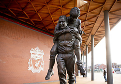 LIVERPOOL, ENGLAND - Tuesday, March 17, 2020: A statue of Bob Paisley and Emlyn Hughes outside the LFC Retail store at Anfield, home of Champions-elect Liverpool Football Club, after the suspension of all football due to the Coronavirus (COVID-19) and Liverpool's decision to close it's Boot Room cafe and official stores. (Pic by David Rawcliffe/Propaganda)