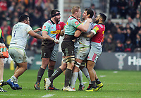 Rugby Union - 2017 / 2018 Aviva Premiership - Harlequins vs. Saracens<br /> <br /> James Horwill and Calum Clark of Saracens square up as fighting breaks out, at The Stoop.<br /> <br /> COLORSPORT/ANDREW COWIE