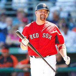 March 7, 2011; Fort Myers, FL, USA; Boston Red Sox third baseman Kevin Youkilis (20) during a spring training exhibition game against the Baltimore Orioles at City of Palms Park.   Mandatory Credit: Derick E. Hingle