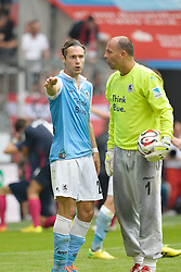 10.08.2014, Allianz Arena, Muenchen, GER, 2. FBL, TSV 1860 Muenchen vs RasenBallsport Leipzig, 2. Runde, im Bild Gary Kagelmacher (TSV 1860 Muenchen), Gabor Kiraly, Torwart (TSV 1860 Muenchen), v. li. // during the German second Bundesliga 2nd round match between TSV 1860 Munich and RasenBallsport Leipzig at the Allianz Arena in Muenchen, Germany on 2014/08/10. EXPA Pictures &copy; 2014, PhotoCredit: EXPA/ Eibner-Pressefoto/ Buthmann<br /> <br /> *****ATTENTION - OUT of GER*****