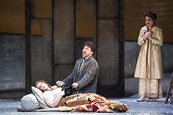 © Licensed to London News Pictures. 06/09/2012. Welsh National Opera present Puccini's La Boheme at the Wales Millennium Centre, Cardiff. Picture shows: Giselle Allen as Mimi, Alex Vicens as Rodolfo, and Kate Valentine as Musetta. Photo credit : Tony Nandi/LNP