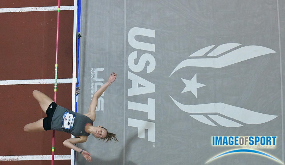 Mar 3, 3017; Albuquerque, NM, USA; Sami Spenner clears 5-6 1/2 (1.69m) in the pentathlon high jump during the USA Indoor Track and Field championships at the Albuquerque Convention Center.