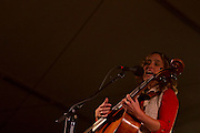Lyndsay Mac performing at Mountain Stage at North House Folk School Un Plugged X in grand Marais Mn