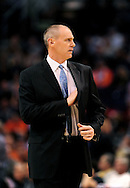 Mar. 08, 2012; Phoenix, AZ, USA;  Dallas Mavericks head coach Rick Carlisle reacts while on the sidelines during a game against the Phoenix Suns at the US Airways Center.  The Suns defeated the Mavericks 96-94. Mandatory Credit: Jennifer Stewart-US PRESSWIRE.