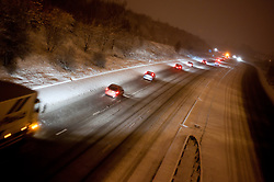 Vehicles South Bound on the M1 motorway junction 35 Sheffield South Yorkshire..30th November 2010.Images © Paul David Drabble