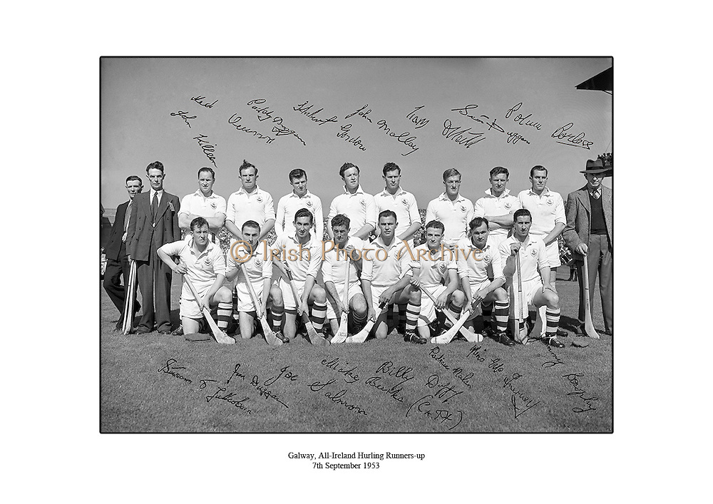 Galway, All Ireland Hurling Final Runners-up, 7th September 1953, 07/09/1953