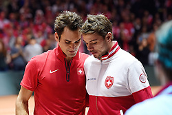 21.11.2014, Stade Pierre Mauroy, Lille, FRA, Davis Cup Finale, Frankreich vs Schweiz, im Bild Roger Federer und Stan Wawrinka (SUI) // during the Davis Cup Final between France and Switzerland at the Stade Pierre Mauroy in Lille, France on 2014/11/21. EXPA Pictures © 2014, PhotoCredit: EXPA/ Freshfocus/ Daniela Frutiger<br /> <br /> *****ATTENTION - for AUT, SLO, CRO, SRB, BIH, MAZ only*****