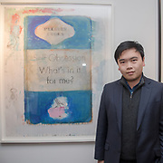 A Chinese buyer brought Harland Miller (b. 1986) (Self Obsession - What's in it for me?) as seen for £30,000 attend the Art On The Mind - Private view of an exhibition and auction which benefits homeless charity, Cardboard Citizens.