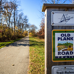 Photo of Old Plank Road Trail in Frankfort Illinois. Frankfort is a Southwest Chicago suburb. The Old Plank Road Trail is a 22 mile long public path and former railroad track train route that runs through Frankfort.