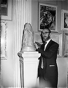 26/04/1958<br /> 04/26/1958<br /> 26 April 1958<br /> Varnishing Day at the R.H.A. Exhibition at the College of Art, Kildare Street, Dublin. Image shows Mr. Marshall C. Hutson, Sunday's Well, Cork, sculptor.