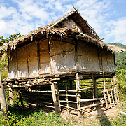 A rice hut constructed largely of woven bamboo in Luang Namtha province in northern Laos.