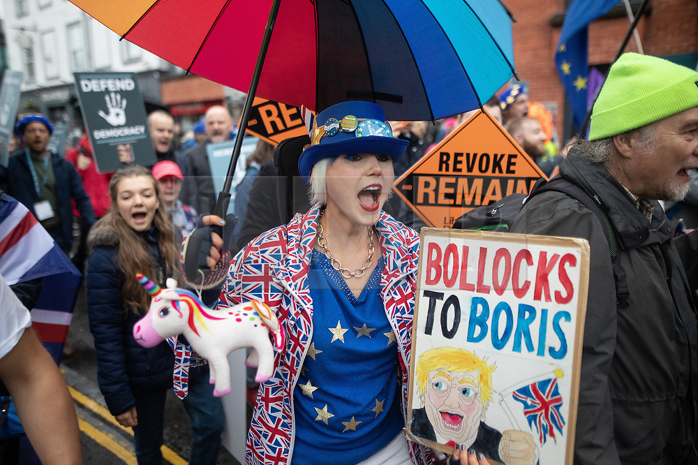 © Licensed to London News Pictures . 29/09/2019. Manchester, UK. Pro-EU demonstrators march through Manchester City Centre . Demonstrations for and against Brexit , austerity measures , the environment and numerous social issues take place across Manchester during the first day of the Conservative Party Conference taking place at the Manchester Central Exhibition Centre . Photo credit: Joel Goodman/LNP