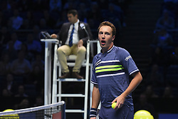 November 19, 2017 - London, England, United Kingdom - Henri Kontinen of Finland in action against Lukasz Kubot of Poland and Marcelo Melo of Brazil in the doubles final today - Kontinen / Peers def Kubot / Melo 6-4, 6-2 at O2 Arena on November 19, 2017 in London, England. (Credit Image: © Alberto Pezzali/NurPhoto via ZUMA Press)