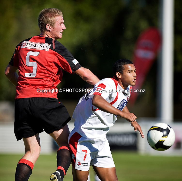Canterbury United player Michael Willis and Waitakere's Jade Mesias compete for the ball in the air. Lion Foundation Youth League Final, Canterbury United v Waitakere United, English Park, Christchurch, Sunday 11 April 2010. Photo : Joseph Johnson/PHOTOSPORT