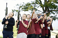 The Army Cadets host a recruitment drive for pupils at Netherhall School in Maryport...Pupils handling a selection of cadet rifles...Pics by Ben Russell.
