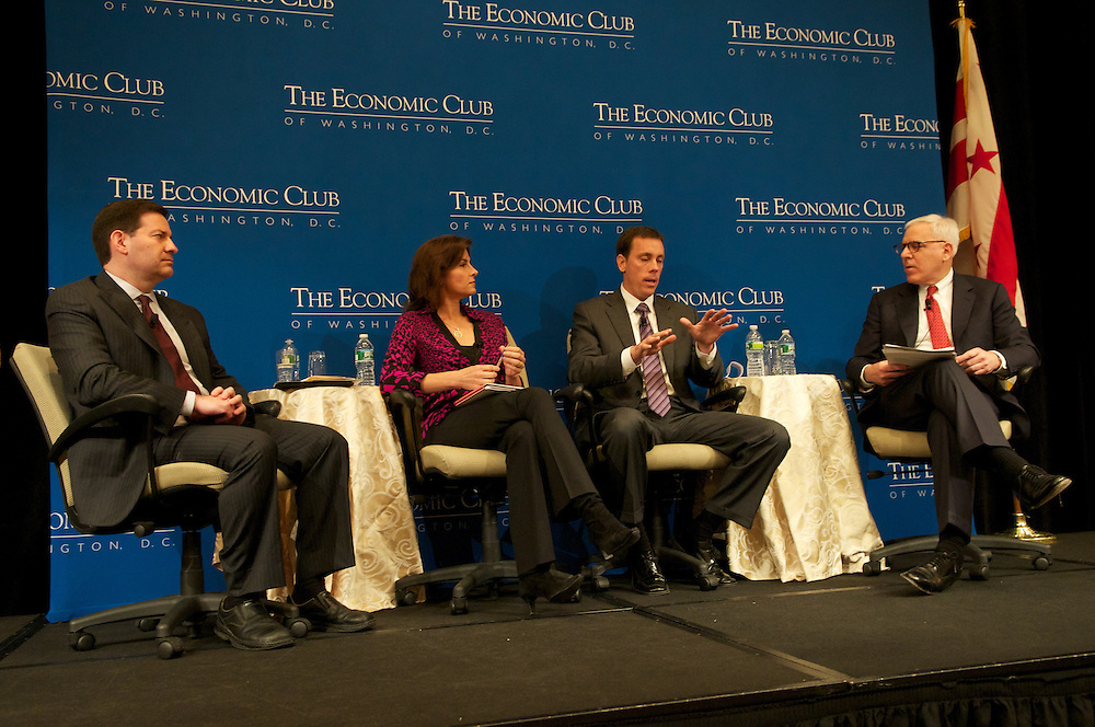 ECOW's pre-election panel, Claire Shipman, Correspondent ABC, Mark Halperin Political Analyst and Jim VandeHei, Co-Founder of POLITICO speak at the Fairmont Hotel, Washington DC