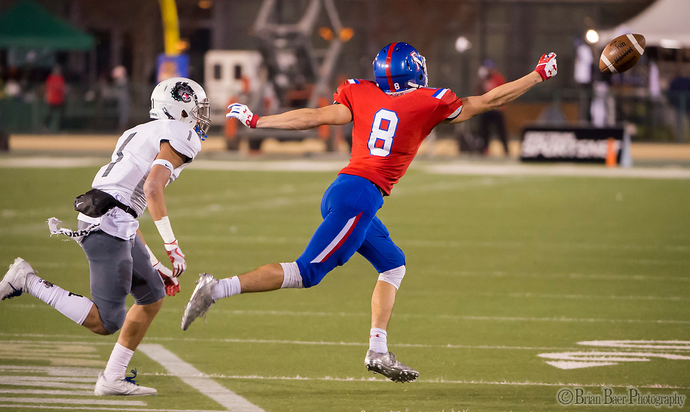 Folsom Bulldogs Parker Clayton (8), just misses a pass on fourth down during the first quarter as the Folsom Bulldogs play the Helix Highlanders in the CIF Division I-AA state title game, at Hornet Stadium at Sacramento State University, Friday Dec 15, 2017.  <br /> photo by Brian Baer