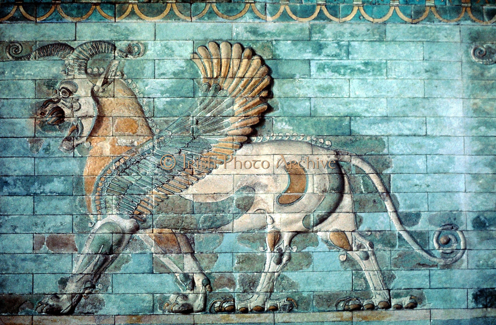 Ancient Persia, Achaemenid Period (530-330 BC) Griffin-Lion relief in glazed brickwork. Louvre, Paris.