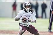 LITTLE ROCK, ARKANSAS - NOVEMBER 23:  Jameon Lewis #4 of the Mississippi State Bulldogs runs the ball against the Arkansas Razorbacks at War Memorial Stadium on November 23, 2013 in Little Rock, Arkansas.  The Bulldogs defeated the Razorbacks 24-17.  (Photo by Wesley Hitt/Getty Images) *** Local Caption *** Jameon Lewis