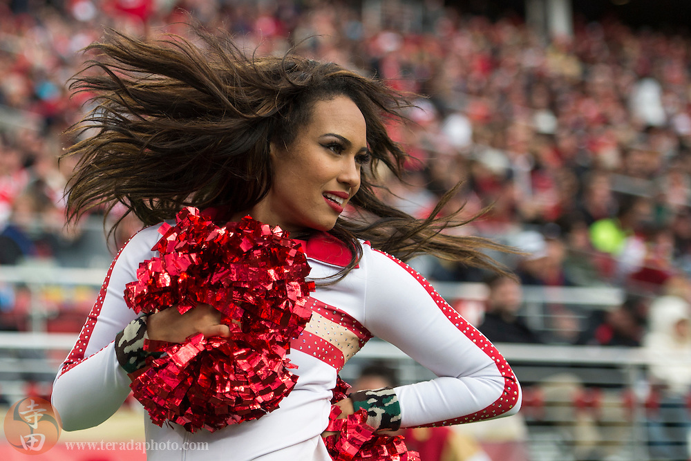November 8, 2015; Santa Clara, CA, USA; San Francisco 49ers Gold Rush cheerleader Kayla performs during the fourth quarter against the Atlanta Falcons at Levi's Stadium. The 49ers defeated the Falcons 17-16.