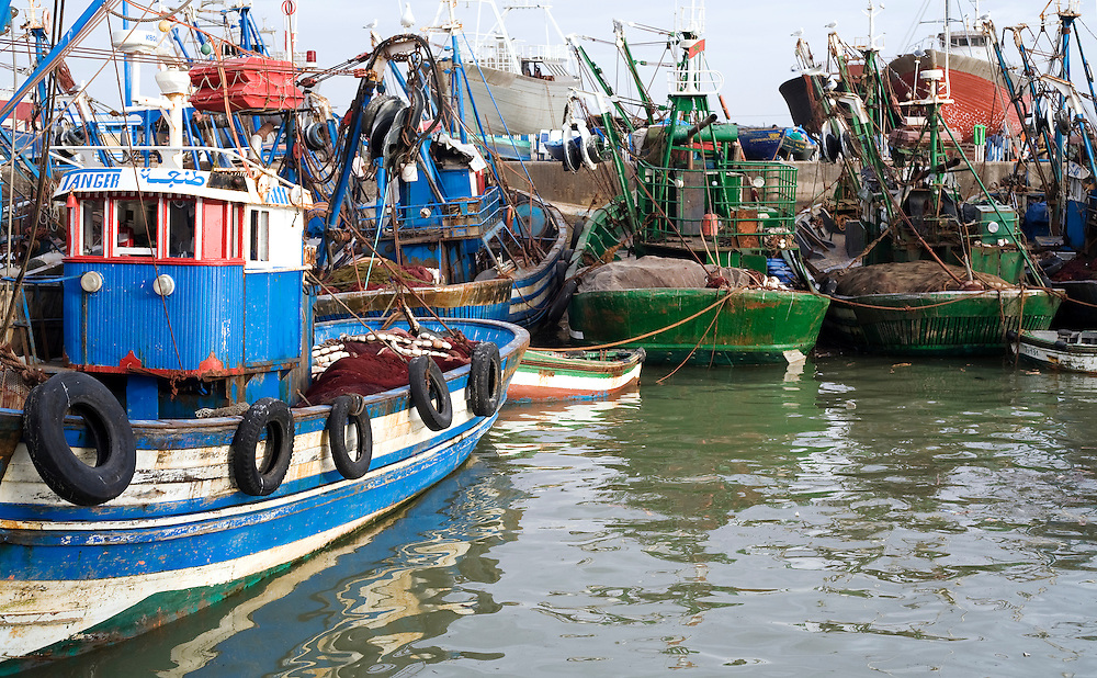 Fishing boats are packed into Essaouira's historic Harbor after a days fishing in the Atlantic Ocean. The Atlantic coast  off of Morocco's seaboard is a very fertile fishing grounds