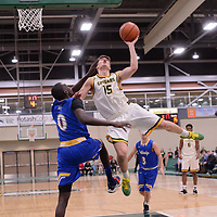 1st year guard Brayden Kuski (15) of the Regina Cougars during the Men's Basketball home game on November 24 at Centre for Kinesiology, Health and Sport. Credit: Arthur Ward/Arthur Images