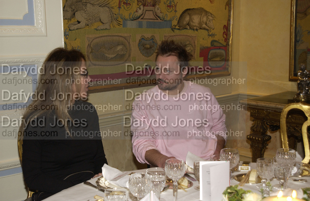 Zeynep Fadillioglu and Juergen Teller. Dinner at the Italian Embassy in which the winner of the MaxMara Art Prize for Women is announced. Grosvenor Sq. London . 2 February  2006. © Copyright Photograph by Dafydd Jones 66 Stockwell Park Rd. London SW9 0DA Tel 020 7733 0108 www.dafjones.com