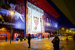 SEVILLE, SPAIN - Tuesday, November 21, 2017: Facist Spanish police guard the stadium before the UEFA Champions League Group E match between Sevilla FC and Liverpool FC at the Estadio Ramón Sánchez Pizjuán. (Pic by David Rawcliffe/Propaganda)