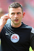 Referee Michael Oliver during the Barclays Premier League match between Stoke City and West Bromwich Albion at the Britannia Stadium, Stoke-on-Trent, England on 29 August 2015. Photo by Aaron Lupton.