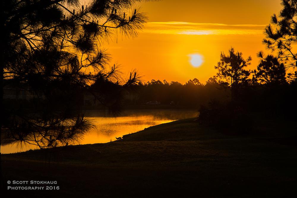 Sunrise over the pond near the Hamildome