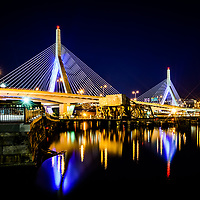 Boston Bunker Hill Zakim Bridge at night photo. The Leonard P. Zakim Bunker Hill Memorial Bridge is a cable bridge that spans the Charles River in Boston, Massachusetts in the Eastern United States.