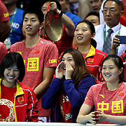 Swimming - Olympics: Day 1 The Chinese team cheer Yang Sun, China, in action during his silver medal swim in the Men's 400m Freestyle Final during the swimming competition at the Olympic Aquatics Stadium August 6, 2016 in Rio de Janeiro, Brazil. (Photo by Tim Clayton/Corbis via Getty Images)