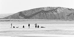 Fishing through ice at the lake Thingvellir, Iceland - Dorgveiði gegnum ís á Þingvallavatni