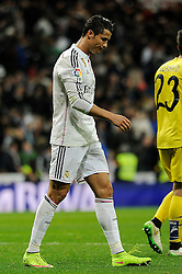 01.03.2015, Estadio Santiago Bernabeu, Madrid, ESP, Primera Division, Real Madrid vs FC Villarreal, 25. Runde, im Bild Real Madrid´s Cristiano Ronaldo regrets the match result // during the Spanish Primera Division 25th round match between Real Madrid CF and Villarreal at the Estadio Santiago Bernabeu in Madrid, Spain on 2015/03/01. EXPA Pictures © 2015, PhotoCredit: EXPA/ Alterphotos/ Luis Fernandez<br /> <br /> *****ATTENTION - OUT of ESP, SUI*****