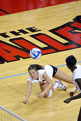 16 SEP 2008: Peggy Riessen dives for a dig during a match at Redbird Arena on the campus of Illinois State University in Normal Illinois.  The Illinois State Redbirds went toe to toe with the University of Illinois Illini but in the end were outpaced by the 23rd ranked Division 1 Illini team 3 sets to 1.