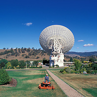 Australia, Capital Territory, Lawn mower by Radio telescopes at Tidbinbilla Deep Space Communication Centre