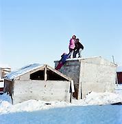 Children in Shismaref, Alaska in March 2010.