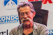 A panel discussion on Doctor Who, with John Hurt (pictured), writer Stephen Moffat and Paul McGann. London Film and Comic Con 2014, (LFCC), at Earls Court, London, UK.