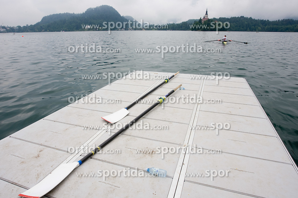 Bled's island and a Boat at Rowing World Cup  on May 30, 2010, at Bled's lake in Mala Zaka, Bled, Slovenia. (Photo by Vid Ponikvar / Sportida)