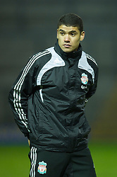 WARRINGTON, ENGLAND - Tuesday, January 20, 2009: Liverpool's new signing Victor Palsson, who joined from Danish club AGF Arhus in the January transfer window, warms-up during the FA Premiership Reserves League (Northern Division) match at the Halliwell Jones Stadium. (Mandatory credit: David Rawcliffe/Propaganda)