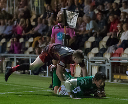 Benetton Treviso's Alessandro Zanni scores his sides third try<br /> <br /> Photographer Simon King/Replay Images<br /> <br /> Guinness PRO14 Round 1 - Dragons v Benetton Treviso - Saturday 1st September 2018 - Rodney Parade - Newport<br /> <br /> World Copyright © Replay Images . All rights reserved. info@replayimages.co.uk - http://replayimages.co.uk