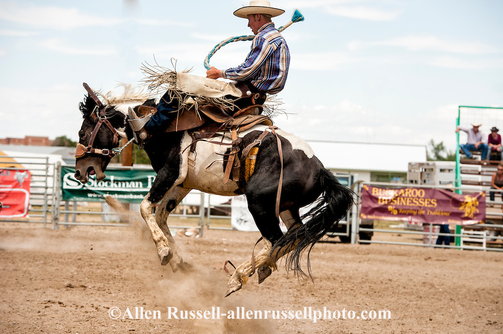 Will James Roundup, Ranch Rodeo, Ranch Bronc Riding, Tyler Sherman, Hardin, Montana.