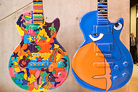 Guitars painted by Austin artists for Guitar Town event.
